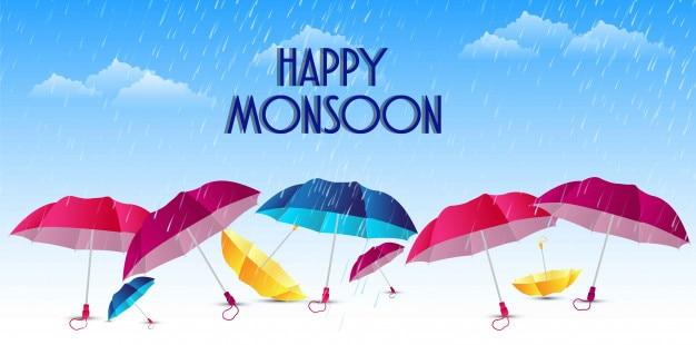 Monsoon heureux avec illustration design sympa et créatif