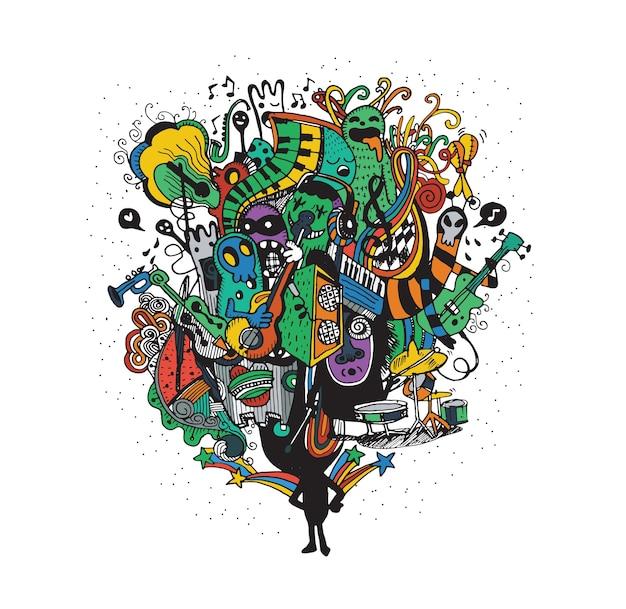 Monster band jouant de la musique style dessiné à la main