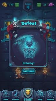Monster battle gui défaite match de terrain de jeu