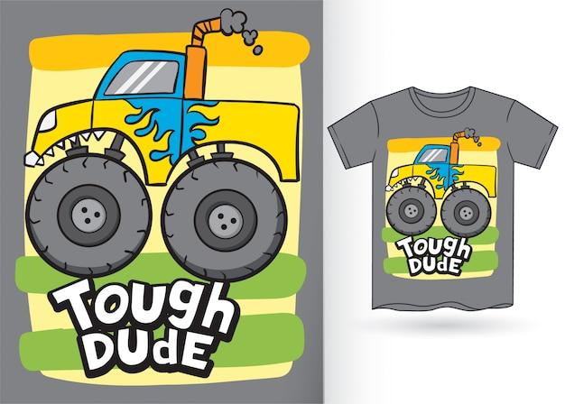 Monster car cartoon pour tshirt