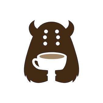Monster coffee cup cafe boisson espace négatif logo vector icon illustration
