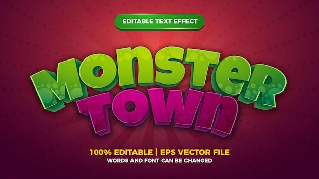 Monster town effet de texte modifiable style de jeu comique de dessin animé