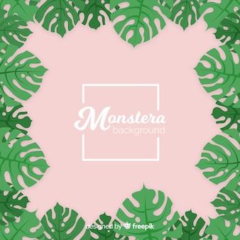 Monstera dessiné à la main feuilles fond de cadre