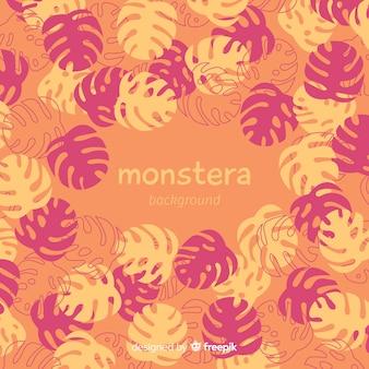 Monstera dessiné à la main feuilles fond