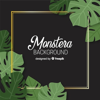 Monstera dessiné à la main feuilles fond