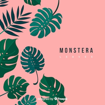 Monstera dessiné à la main laisse tomber fond