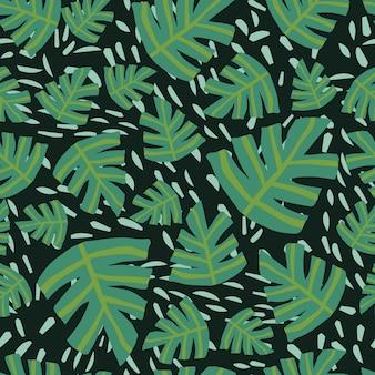 Monstera tropical contemporain laisse transparente motif sur fond noir.