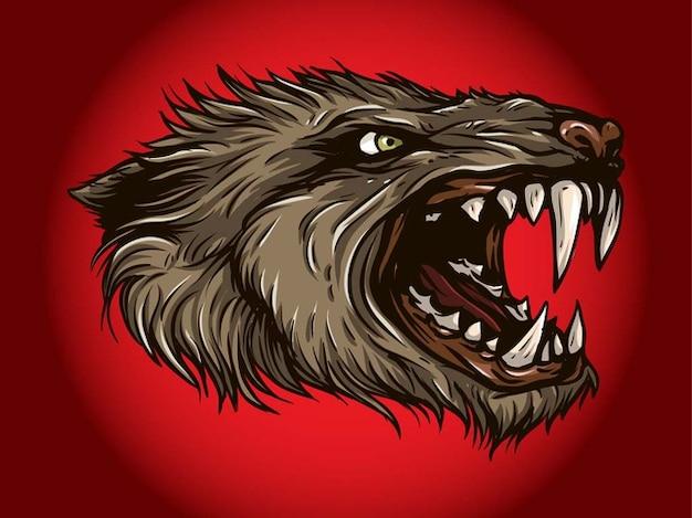 Monstre affamé tête créature mythologique