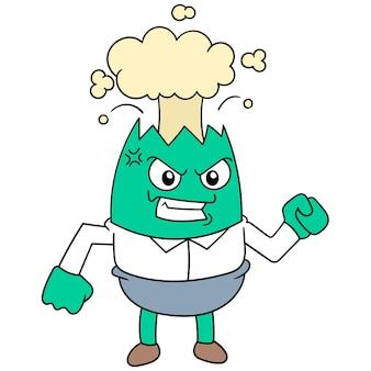 Le monstre au visage en colère a retenu le saccage jusqu'à ce qu'il éclate, illustration vectorielle. doodle icône image kawaii.