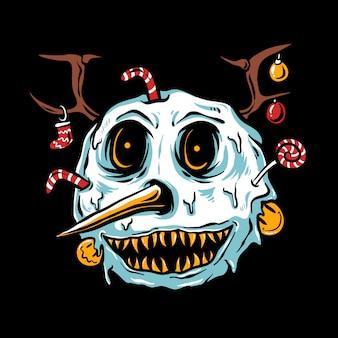 Monstre bonhomme de neige tête joyeux noël