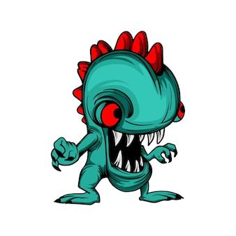Monstre, caméléon, dessin animé, caractère clipart