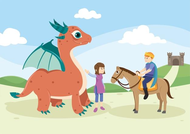 Monstre et chevalier mignon dans le conte de fées