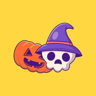 Monstre citrouille et crâne de sorcière illustrations de dessins animés halloween heureux