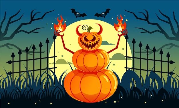 Monstre citrouille effrayant halloween
