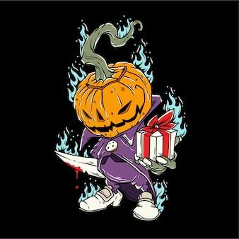 Monstre citrouille à la fête d'halloween tenant un couteau et un cadeau