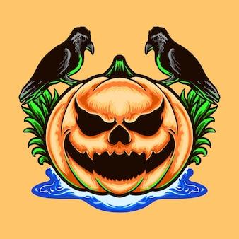 Monstre citrouille avec illustration de conception crow tshirt