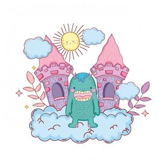 Monstre de conte de fées avec le caractère du château