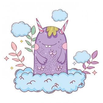 Monstre de conte de fées avec le caractère de nuages