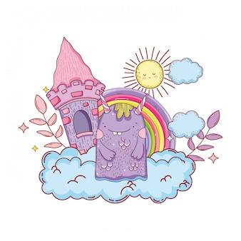 Monstre de conte de fées avec château et arc-en-ciel