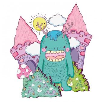 Monstre de conte de fées dans le château