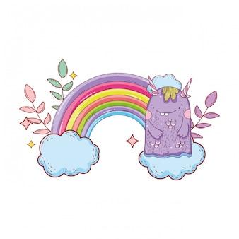Monstre de conte de fées avec nuages et arc-en-ciel
