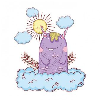 Monstre de conte de fées avec nuages et soleil