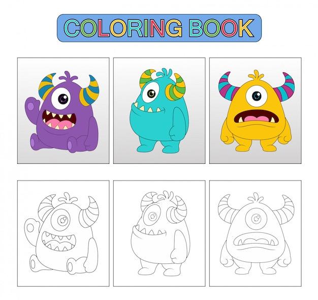 Monstre dessin animé mignon, livre de coloriage