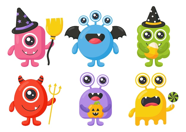 Monstre de dessin animé monstres heureux mignons halloween sur fond blanc