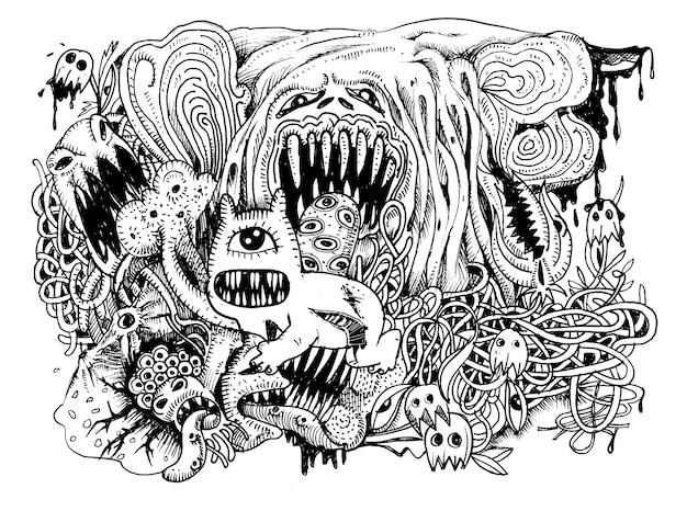 Monstre dessiné main avec des lignes de combinaison
