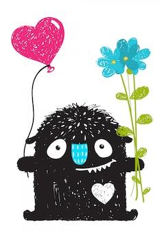 Monstre drôle avec des fleurs et un dessin animé de ballon coeur pour les enfants