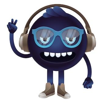 Monstre drôle de vecteur avec des écouteurs et des lunettes
