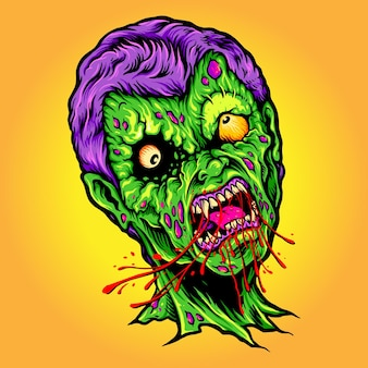 Monstre mange blood horror halloween illustrations vectorielles pour votre travail logo, t-shirt de mascotte, autocollants et conceptions d'étiquettes, affiche, cartes de voeux entreprise ou marques publicitaires.