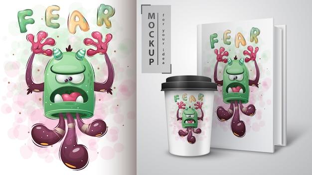 Monstre mignon. affiche et merchandising