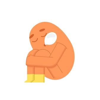 Monstre mignon assis et dormant