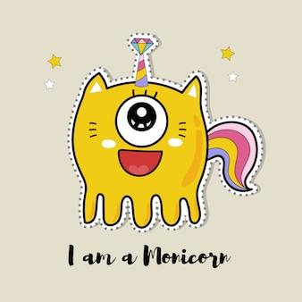 Monstre mignon doodle dans le concept de la licorne