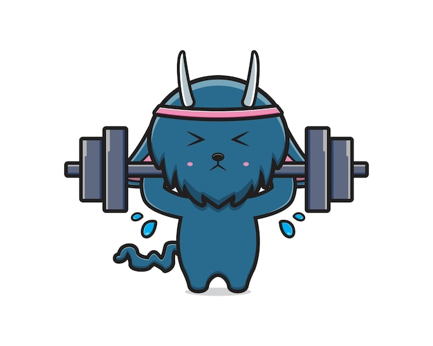 Monstre mignon faire de l'illustration d'icône de dessin animé de levage de poids. concevoir un style cartoon plat isolé