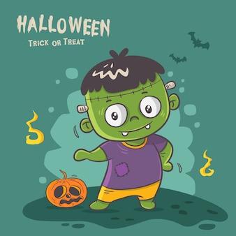 Monstre mignon frankenstein, graphique d'halloween heureux