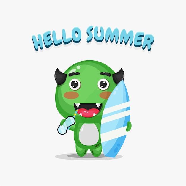 Monstre mignon portant une planche de surf avec des salutations d'été