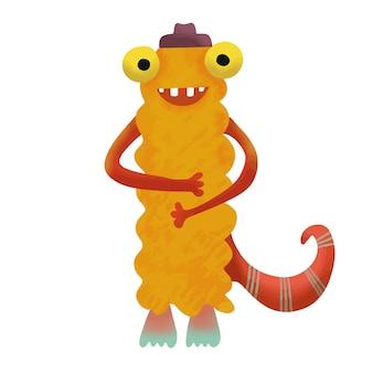 Monstre monstre adorable mignon heureux.