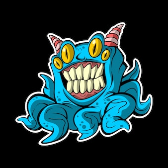 Monstre de poulpe bleu