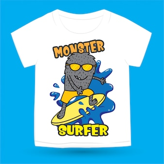 Monstre surfeur dessiné à la main pour t-shirt