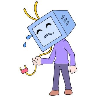 Le monstre de la télévision pleure, perdant malheureusement le pouvoir, art de l'illustration vectorielle. doodle icône image kawaii.