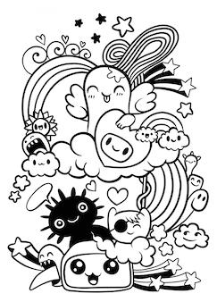 Monstres et bonbons effrayants d'halloween, ensemble de monstres mignons drôles, d'extraterrestres ou d'animaux fantastiques