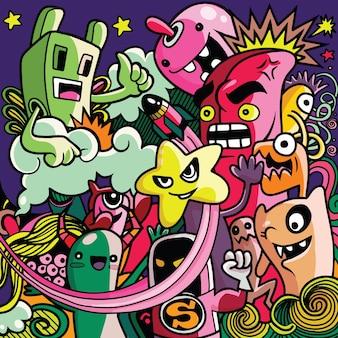 Monstres et collection de monstres mignons dessinés à la main mignons, sympas et aliens