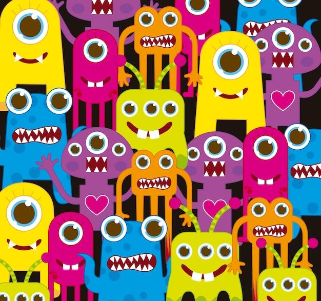 Monstres colorés sur illustration vectorielle fond noir