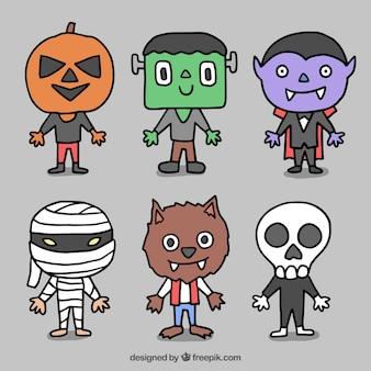 Monstres dessinées à la main pour halloween