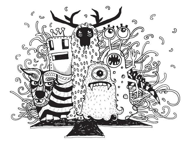 Monstres dessinés à la main et alien mignon
