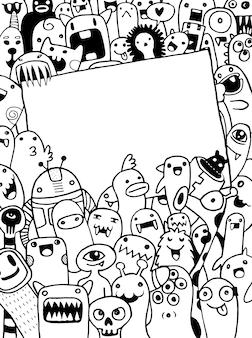 Monstres dessinés à la main et dessin animé sympathique alien mignon