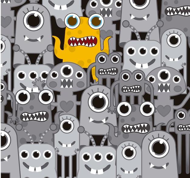 Monstres gris avec un fond de monstre jaune