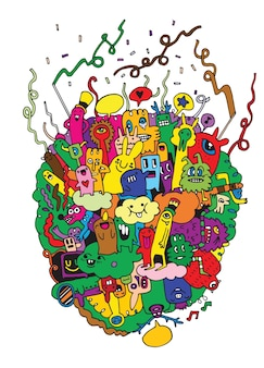 Monstres et mignon amical, collection de monstres dessinés à la main